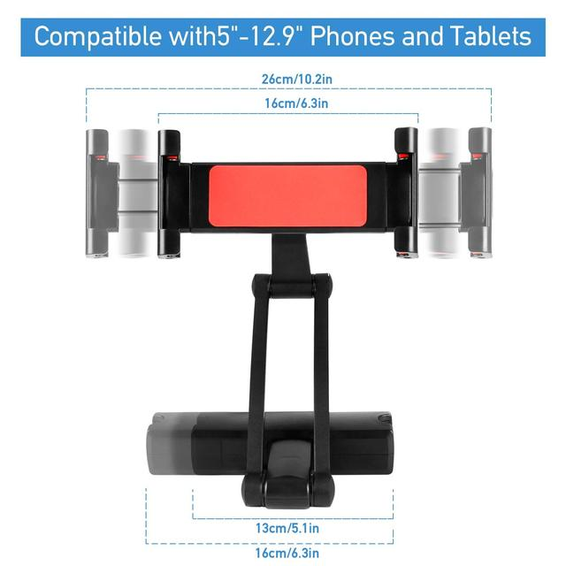 Car Headrest Tablet Mount, Universal Backseat Tablet Holder,Compatible with iPad Pro/Air/Mini,Kindle Fire,iPhone and Other 5-12.