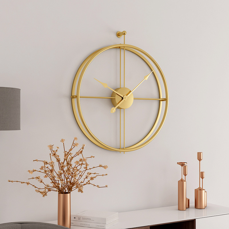 59cm Nordic style Vintage metal Wall Clock 3D Art Home Decoration Antique Clock creative Brief Iron Wall Hanging clocks CW225 gold metal duvar saati