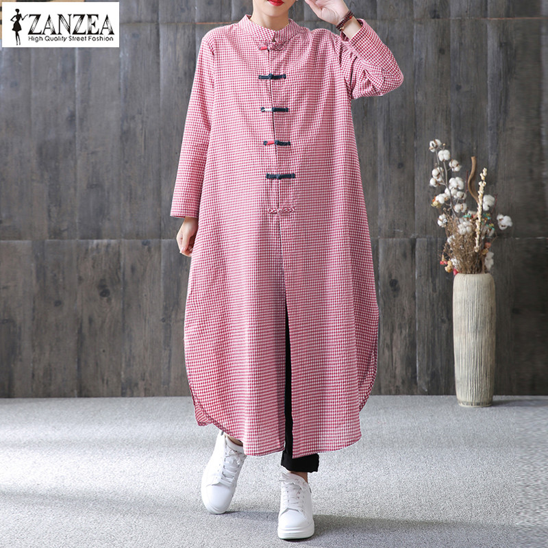 2019 ZANZEA Kaftan Checked Dress Women Casual Party Long Maxi Dresses Female Button Down Shirt Vestido Plus Size Plaid Sundress
