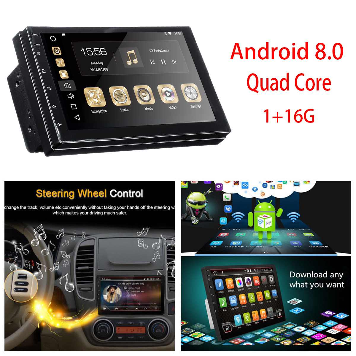 7'' Car Multimedia Player Car Radio Stereo 2 DIN for Android 8.0 WIFI Bluetooth MP5 Player GPS Nav Quad Core Audio Video NEW