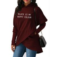 2019 New Fashion BLACK IS MY HAPPY COLOUR Print Hoodies Women Sweatshirts Femmes Street Casual Loog Sleeve Pullovers for Woman