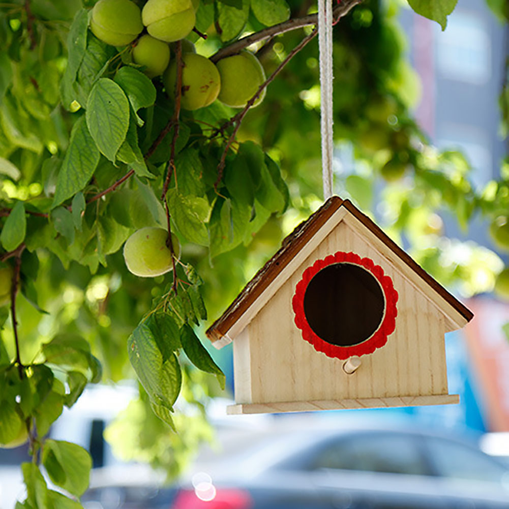 Home & Garden Provided Wooden Hanging Cage House Shape Eco-friendly Hemp Rope Diy Outdoor For Parrot Bird Nest Tree Garden Cabin Simulated Bark Always Buy Good