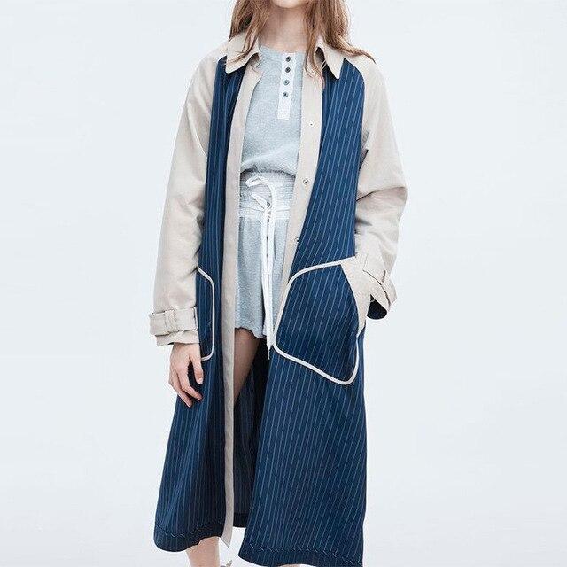 Winter 2019 New Stripe Color Matching Medium Long Coat Lapel Temperament Strap Long Sleeve Women Waist Coat Women