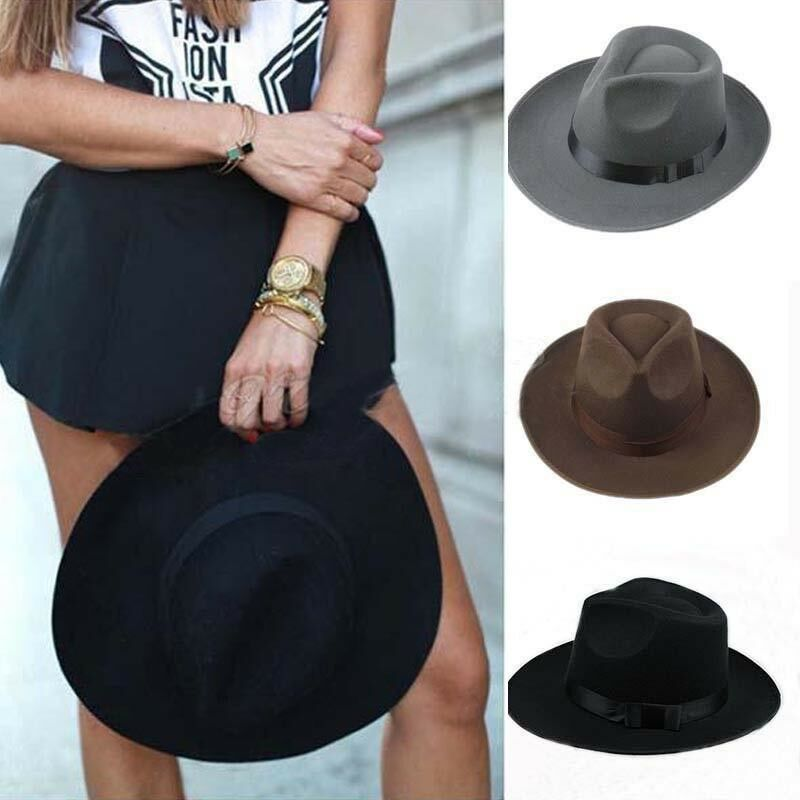 707442bf4 Mens Women Thick Wool Vintage Felt Fedora Wide Brim Panama Bowler Trilby Hat  Cap Black Gray-in Fedoras from Apparel Accessories on Aliexpress.com |  Alibaba ...