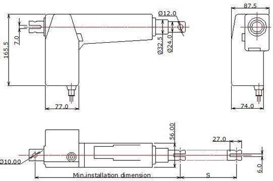 8000N нагрузка 5 мм/сек скорость 200 мм ход 24 в электрический линейный привод для больницы кровать для отделения интенсивной терапии электрическое кресло-кровать