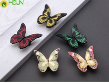 Colorful Butterfly Knobs Drawer Handle Pulls Flower Kitchen Cabinet Furniture Hardware