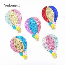 10PCS Glitter Leather/Non-Woven Fabric Fire Balloon For Girls Hair Clips Bows Applique Patches DIY Craft Party Decoration Y0314(China)