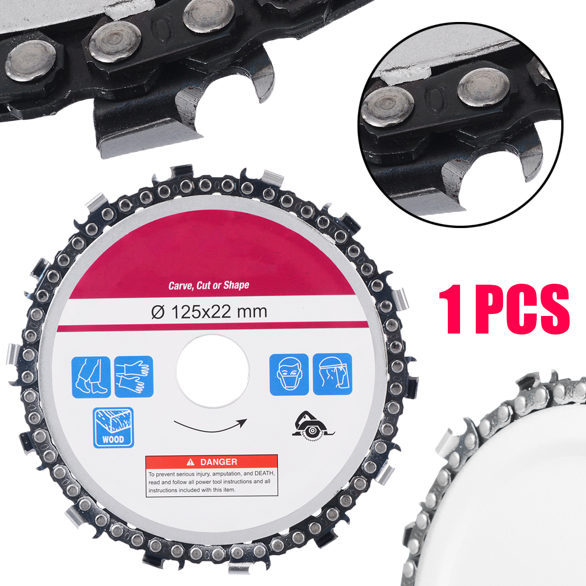 5 Angle Grinder Disc Saw Blade 14 Teeth Cut Chain Woodworking Carving Disc for Chainsaw Cutting Wood5 Angle Grinder Disc Saw Blade 14 Teeth Cut Chain Woodworking Carving Disc for Chainsaw Cutting Wood