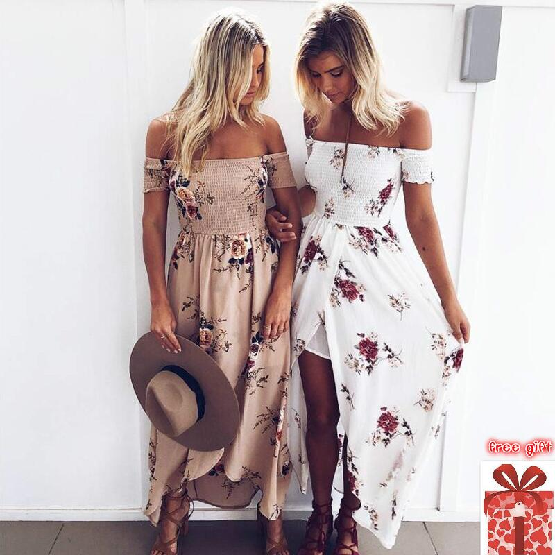 Maxi Dress Robe Plus Size For Big Floral Ladies Summer Beach Vestidos Largos Woman Off Shoulder Robe Sexy Flower Backless 5XL