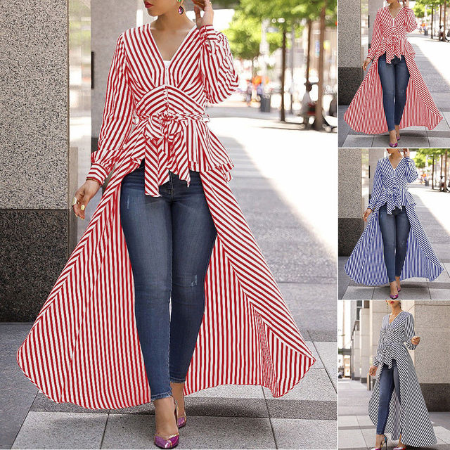 2019 New Spring Autumn Women Blouse Black Strips V-Neck Long Sleeve Work Shirts Women office Tops Striped Blouse for Business