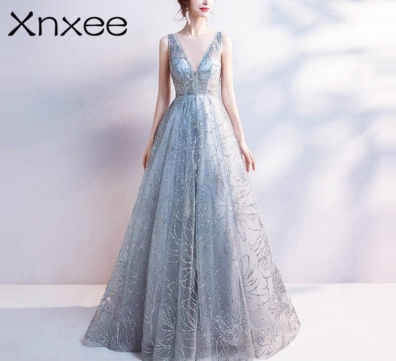 Xnxee Light Gray V Neck Luxury Dresses Bling Sequined Floor Length Famous Designer Party Formal Dress Xnxee