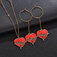 ecefa130e X-NO Comprar Mulheres Moda Brincos   Colar Set Vermelho Pingente de Coração  Da Moda Jóias Europeu Moda Romântico Conjuntos de Jó..