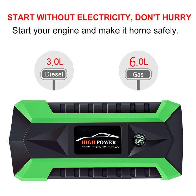 Démarreur de saut multifonction 89800 mAh 12 V 4 USB 600A Portable batterie externe chargeur de voiture chargeur de démarrage - 4