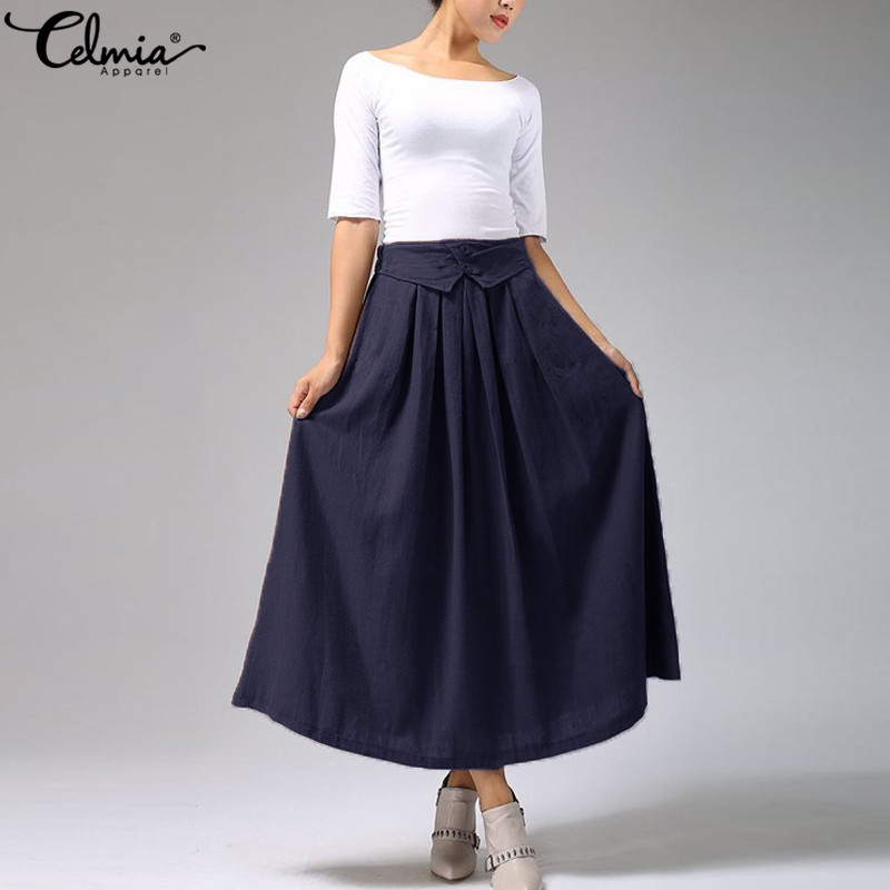 Celmia 2018 Vintage Skirt High Waist Work Wear A Line Midi Skirts Women Fashion Solid Pleated Jupe Femme Saias Plus Size Skirts