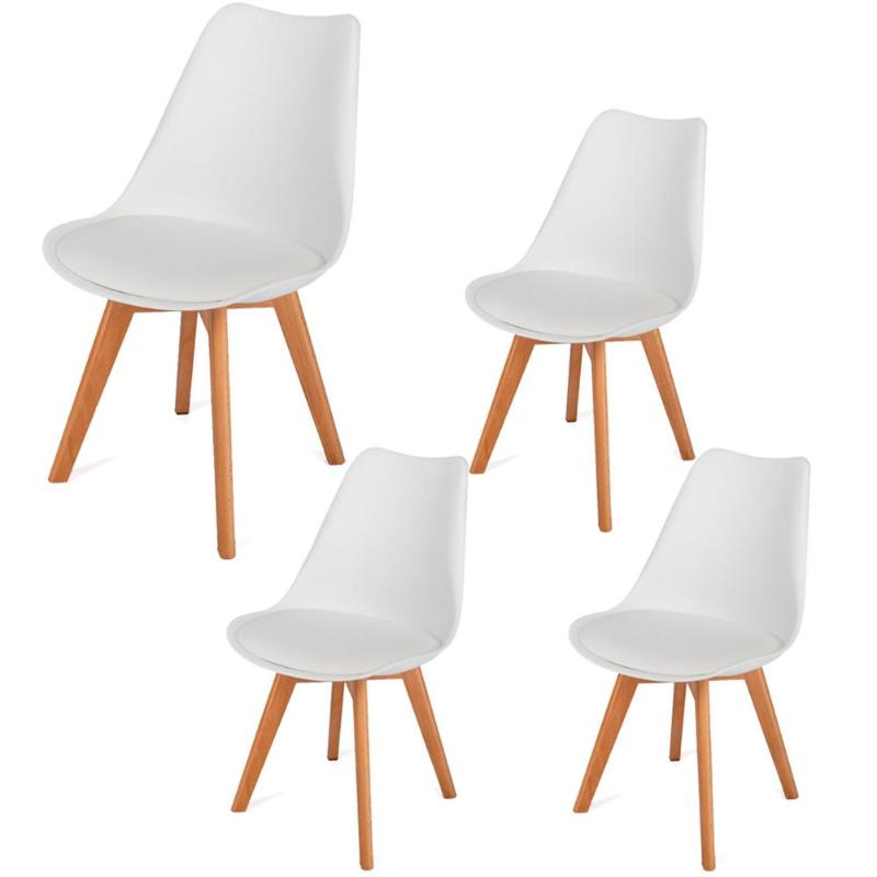 4pcs Simple Solid Wood Foot Padded  Chair Plastic Living Room Home Chair4pcs Simple Solid Wood Foot Padded  Chair Plastic Living Room Home Chair