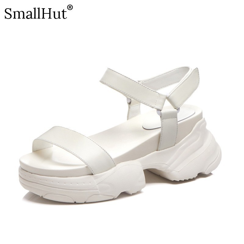 Cow Leather Platform Sandals Women Summer Fashion Lady Ankle Strap Shoes D053 Woman Mixed Colors Black White Casual Flat ShoesCow Leather Platform Sandals Women Summer Fashion Lady Ankle Strap Shoes D053 Woman Mixed Colors Black White Casual Flat Shoes