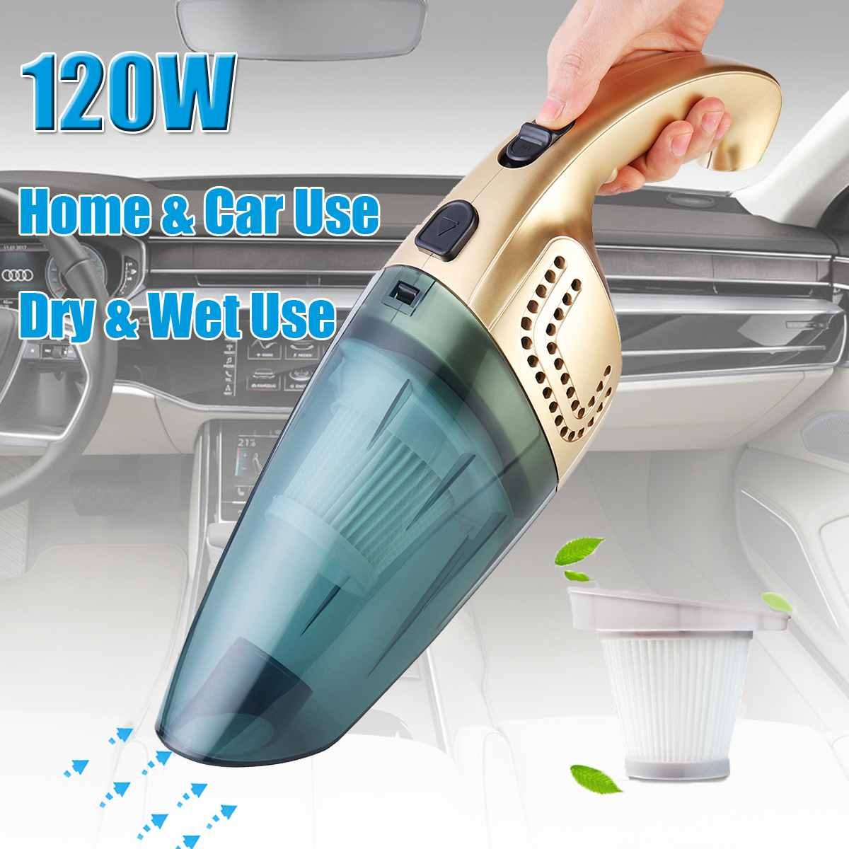 120W 220V Portable Home Car Cordless Vacuum Cleaner Rechargeable Dust Collector Sweeper Dual Use Dry/Wet 2600mAh Vacuum Sweeper