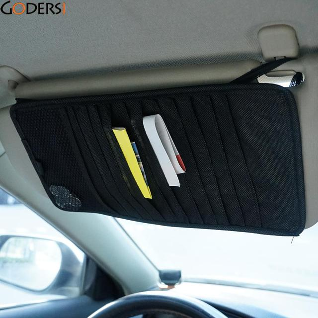 Godersi 1Pc 3 Colors Car Sun Visor Black 12 Disc Slots CD Card Holder Organizer Storage Clip Bag Case PQJ4806