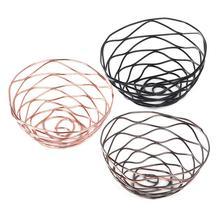 Nordic Style Iron Storage Basket Fashionable Fruit Bowl Golden Rose Shaped Metal Basket Bread Basket #YW недорого