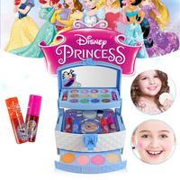 32Pcs Disney Ice Princess Makeup Case Toys Set Mini Portable Play House Cosmetics Toy With Lip Gloss Blush Brush For Children