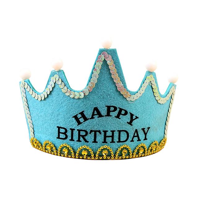 LED Light up Birthday Hat Princess King Happy Birthday Crown Cap Headband Christmas Party Decor Headband Without Battery