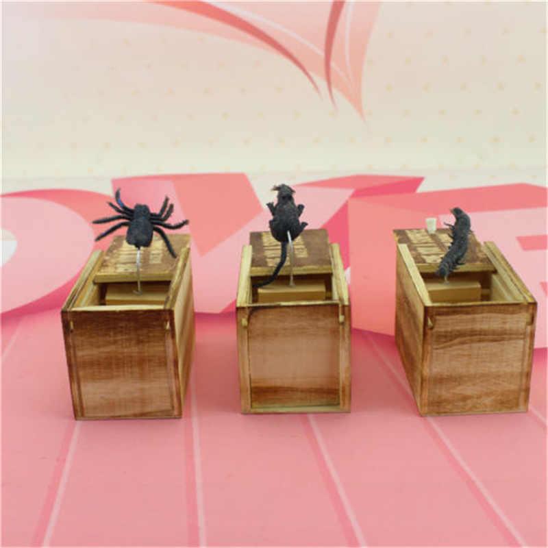 1 PC Hot en bois horreur blague araignée peur boîte Gag jouets cachés dans le cas astuce jouer blague horreur Gag Xmas jouet Halloween fête cadeau