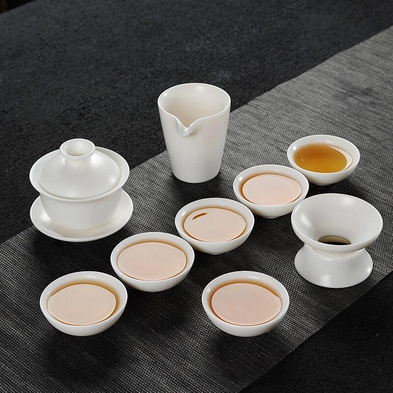 Set Manual White Jade Porcelain Dehua White Porcelain Kung Fu Tea Set Household Tea Ceramic Simple Cup Teapot
