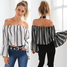 Women Summer Fashion Plus Size S-XL Neck  Sexy Slash Black and White Stripe Print Long Flare Sleeves Causal Loose shirt