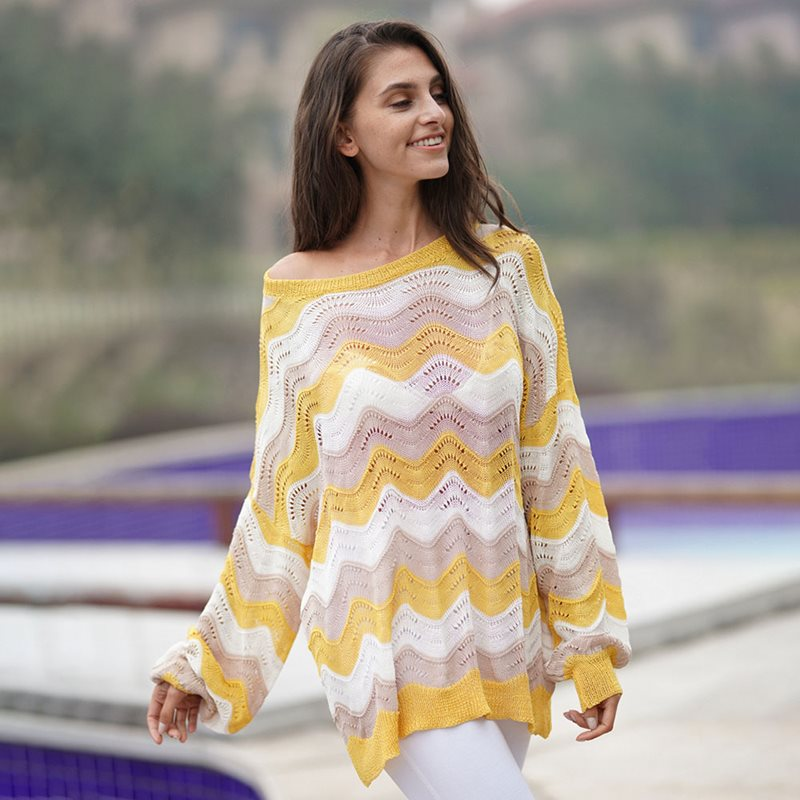 Brand Boho Stripe Knitted Sweater Women Stylish Hollow Out Yellow Street Loose Pullovers Ladies Autumn Thin Casual Knitwear Top