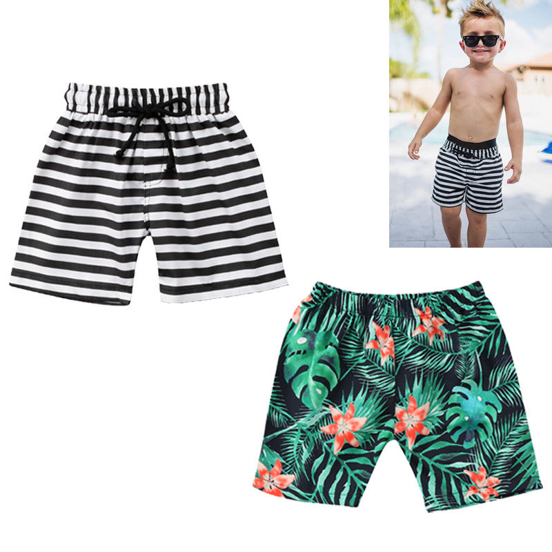 Summer Boys Beach Shorts Striped Floral Kids Swimming Trunks Children Sport Biquinis Swimsuits Boys Swimwear Bathing 1-6T