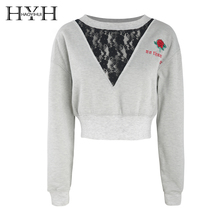 HYH HAOYIHUI 2019 Spring Women Sexy V-neck Lace Long Sleeve Sweatshirts Stitching Embroidered Rib Loose Short  Pullover Tops