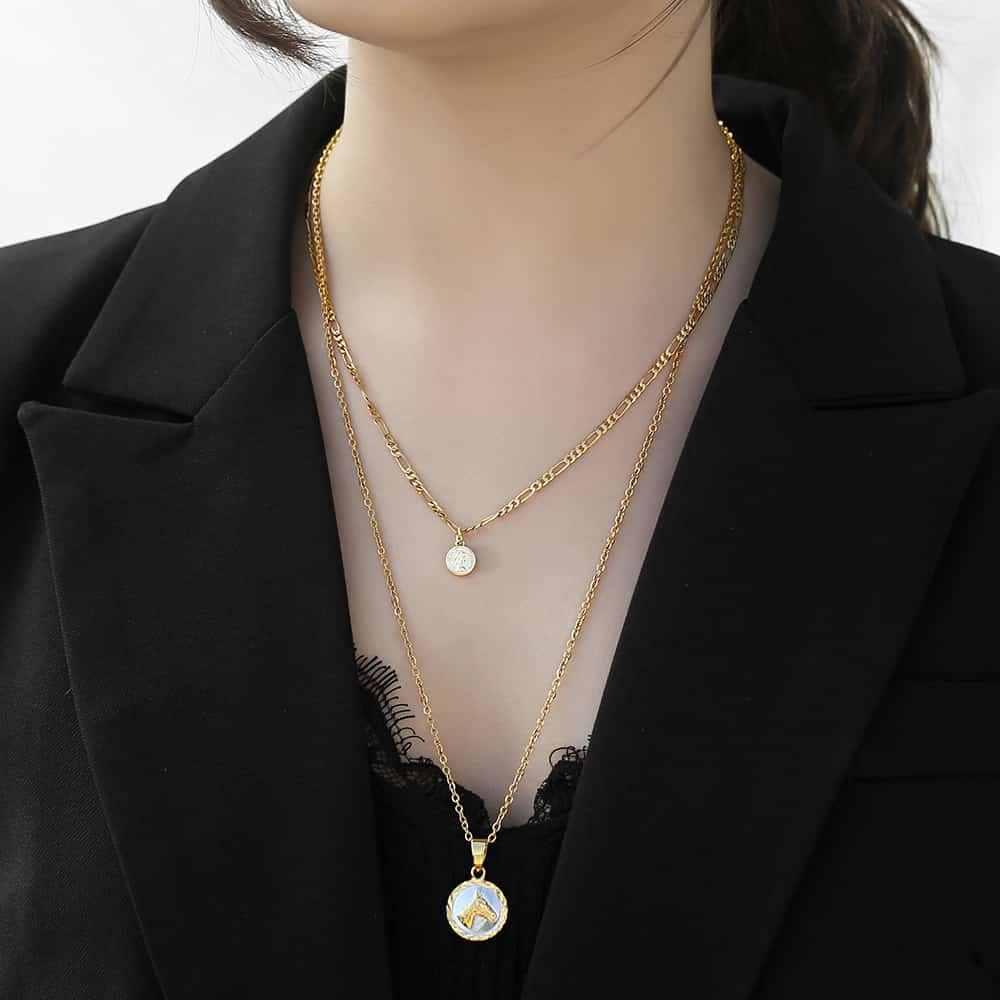 Podwójna warstwa złoty wisiorek naszyjnik dla kobiet długi kubański Rolo Link królowa elżbieta moneta gwiazda urok naszyjnik typu choker leżący na linii obojczyka DNM14