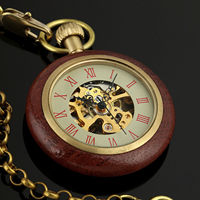 CAIFU Brand New Arrival Open Face Mechanical Mens Pocket Watch Golden Movement Wooden Case Style Skeleton Watch w/Chain