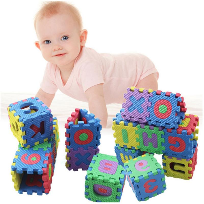 36PCS Mini Foam Floor Mats Children's Babies Cartoon Alphanumeric Crawling Baby 6*6cm Puzzle Kinderen Alfabet Infant Toy
