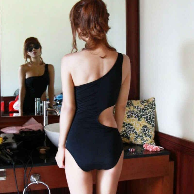 Sexy Women One Shoulder Bandage Cut Out One Piece Swimwear Monokini Beachwear Swimsuit Bathing Suit
