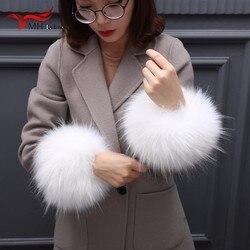 Nuevo señoras mapache calentadores de brazo de color natural real de piel de mapache esposas damas abrigo brazo conjuntos invierno manga muñeca caliente