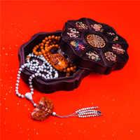 Chiński styl ręcznie Vintage mahoń zestaw z kamienie naturalne czysta instrukcja wysokiej jakości pudełko z biżuterią pudełko do przechowywania pół- kamień