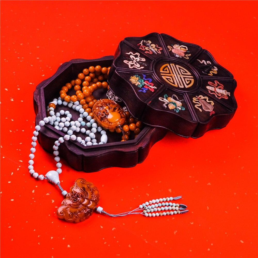 Style chinois fait à la main Vintage acajou ensemble avec pierres précieuses naturelles pur manuel haut de gamme boîte à bijoux boîte de rangement semi-pierre