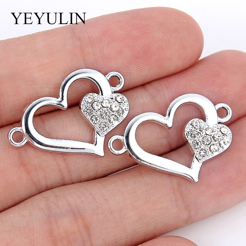 10 Pcs Silver Plated Color Love Heart Shape Alloy Connects For Making Necklace Bracelets Gift  Fashion Crystal Jewelry Findings
