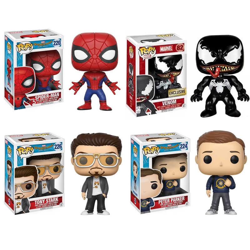 Funko pop #222 #259 #220 homem-aranha #82 venom pop animação figura de ação coleção modelo brinquedos para fãs de filme presente de aniversário