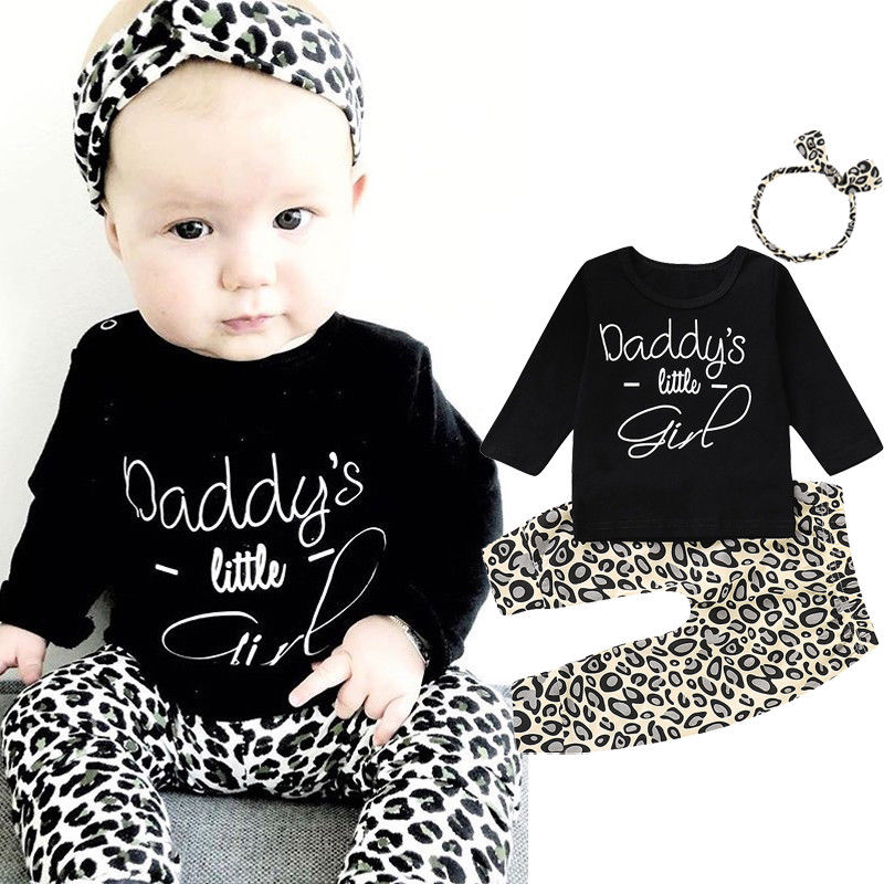 46ee3cfd Detail Feedback Questions about 3 pieces Daddy Little Girl Print T shirt  Leopard Pant with Headband Set For Baby Girl Autumn Spring Clothing on ...