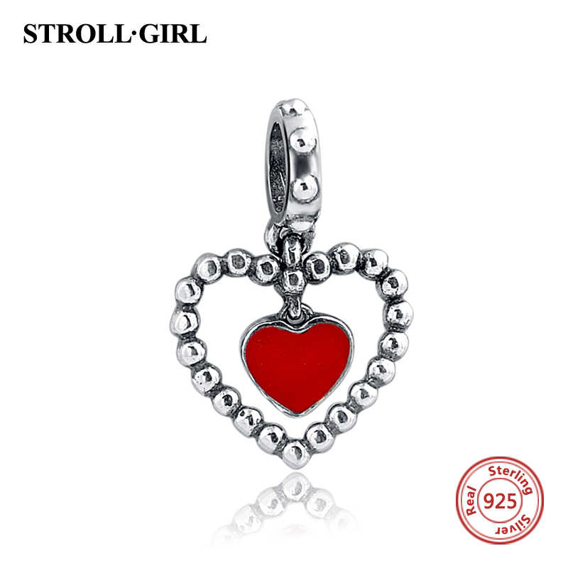 100% 925 Sterling Silver Charms Fit European bracelets Heart Shape Enamel Charm Beads With Clear CZ Stone 2017 Fashion jewelry