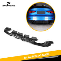 Rear Bumper Lip Spoiler Diffuser For Audi A3 S3 2017 2018 Carbon Fiber Material Bumper Guard