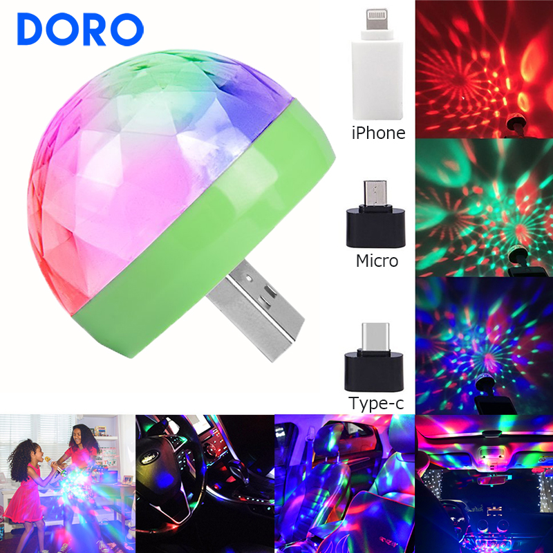 USB DC5V Colorful Dj Disco Ball Stage Light Music Control Christmas Projector Light Singing KTV Xmas Holiday Lighting Decorative