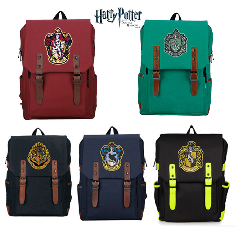 Harri Potter  Gryffindor/Hogwarts Slytherin Ravenclaw Hufflepuff Backpack Canvas Travel Bag Teenager School Bags