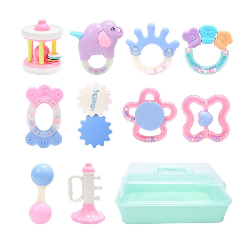 10Pcs//Set Newborn Toddler Baby Shaking Bell Rattles Teether Toys Kids Hand Toys