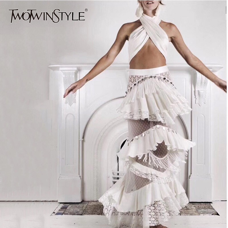 TWOTWINSTYLE Party Two Piece Sets For Women Strapless Crop Tops High Waist Patchwork Lace Tassel Long Skirts 2019 Fashion New