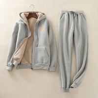 Для женщин зимний комплект толстовка + брюки комплект из двух предметов Для женщин Повседневное трикотажные ягненка бархатные толстые тепл
