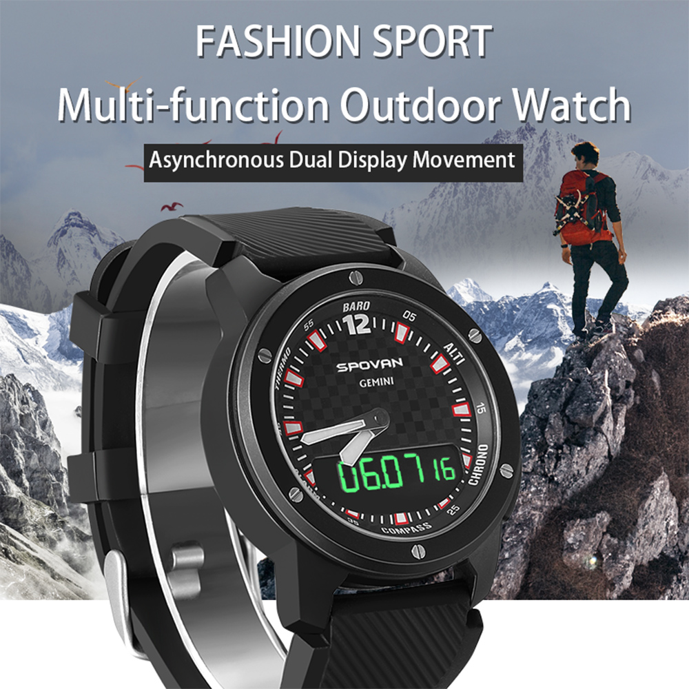 Smart Watch Men Analog Barometer Altimeter Thermometer Compass Weather Forecast Dual Time Display Smartwatch 50M Waterproof