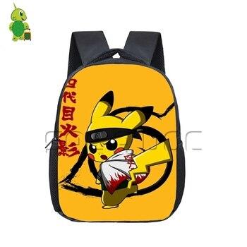 Anime Naruto Dragon Ball Pokemon Crossovers Backpack Children School Bags Kids Chibi Piakchu Naruto/goku Kindergarten Backpack фото
